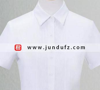 女士白色褶皱短袖衬衫定制