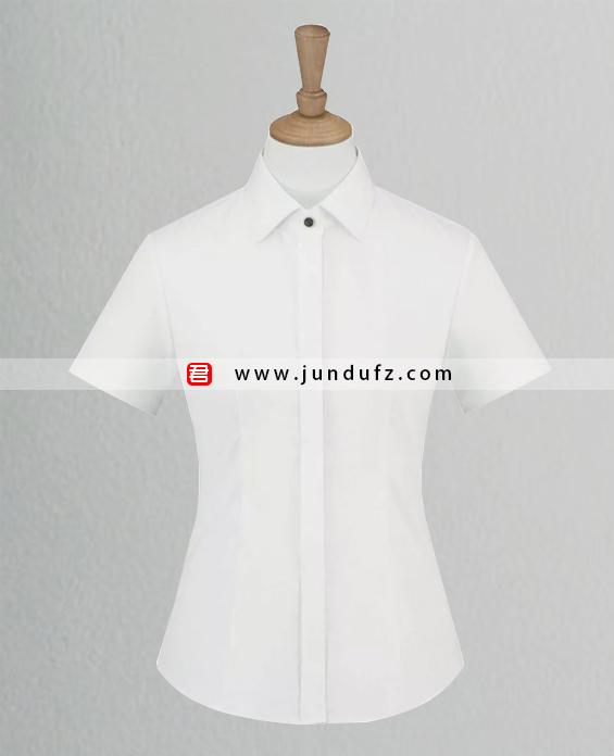 女士白色斜纹短袖衬衫定制