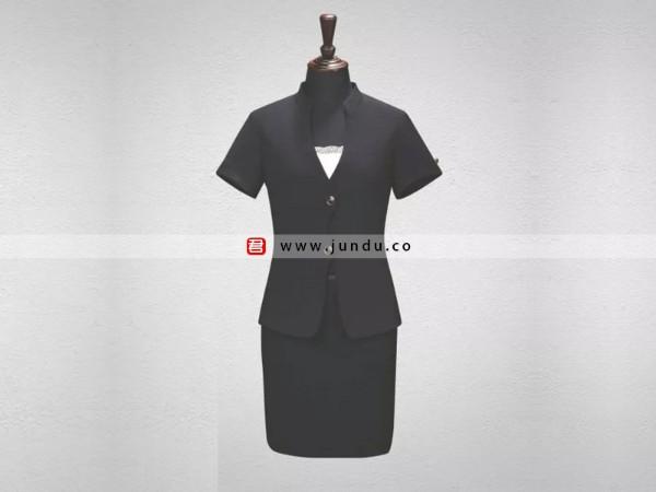 时尚黑色立领短袖西服套裙定制