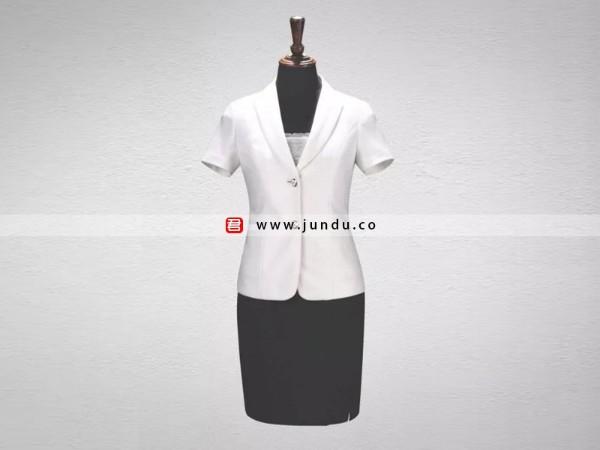 时尚白色翻领短袖西服套裙定制