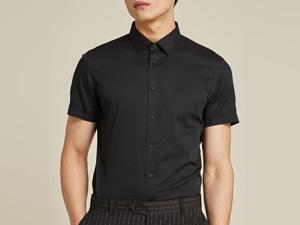 男黑色短袖衬衫定制