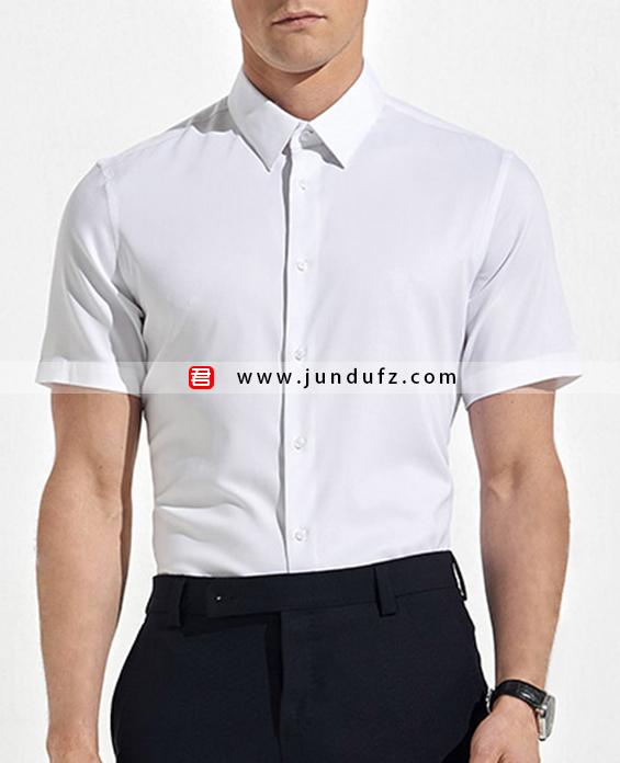 男士纯白色短袖衬衫定制