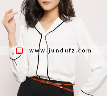 黑边V领衬衫+通勤包臀西裙套装定制