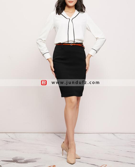 黑边V领衬衫+通勤包臀西裙套装定制展示图