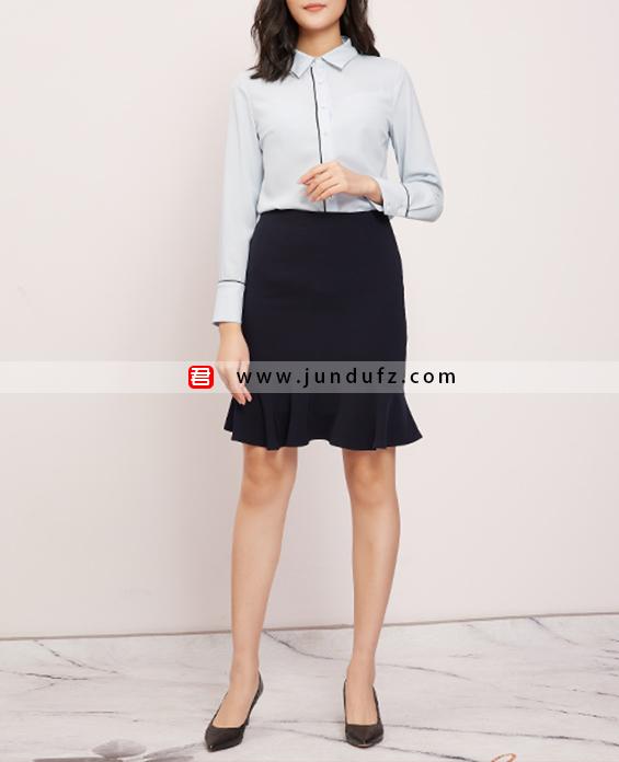 滚条小翻领衬衫+包臀鱼尾半身裙套装定制展示图