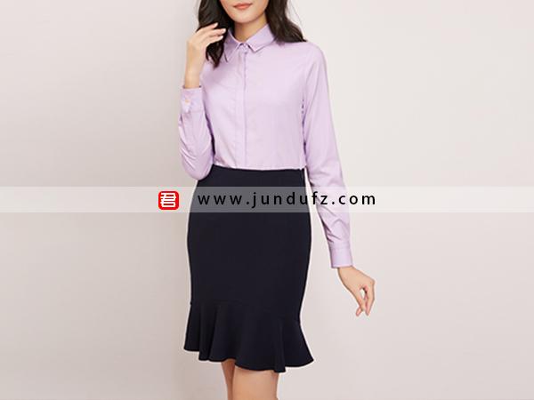 纯棉收腰经典衬衫+包臀鱼尾裙套装定制