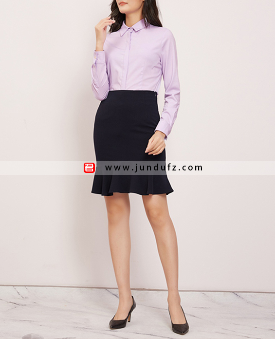 纯棉收腰经典衬衫+包臀鱼尾裙套装定制展示图