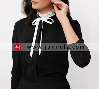 黑色蕾丝领优雅衬衫+经典显瘦小A裙套装定制