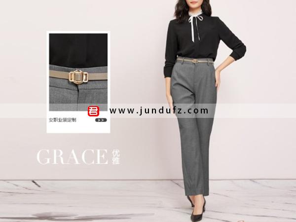 黑色蕾丝领优雅衬衫+灰色9分直筒裤套装定制