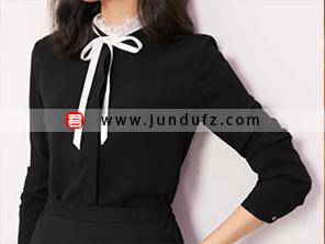 黑色蕾丝领优雅衬衫效果图
