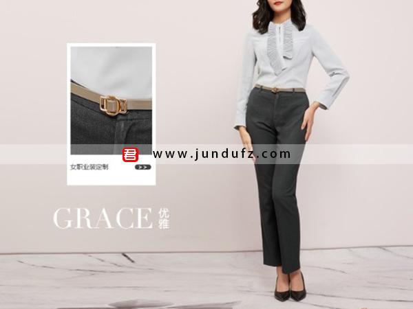 女浅蓝色风琴褶衬衫+9分小脚裤套装定制