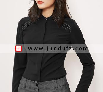 小立领高端衬衫+灰色直筒长裤套装定制