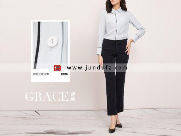 滚条小翻领衬衫+黑色9分喇叭裤套装定制