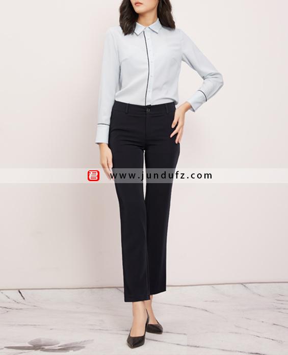 滚条小翻领衬衫+黑色9分喇叭裤套装定制展示图