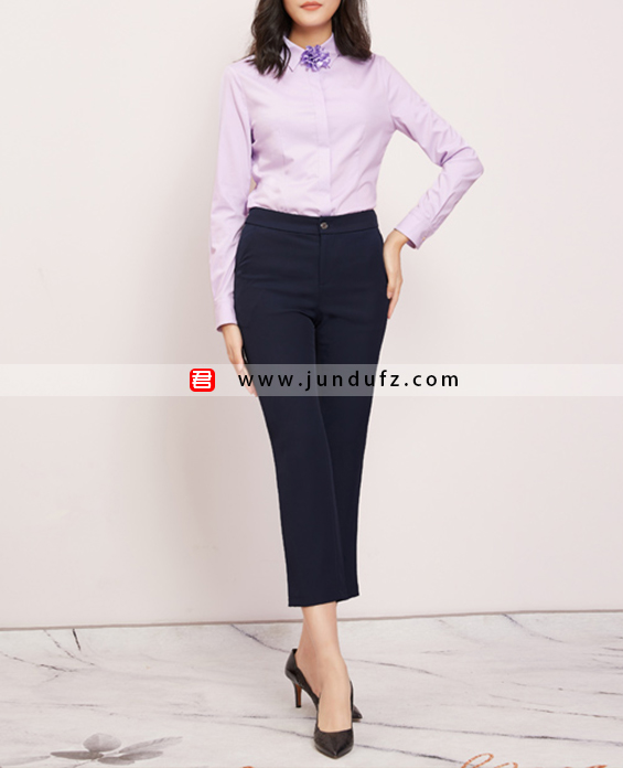 纯棉收腰经典衬衫+9分修身喇叭裤套装定制展示图