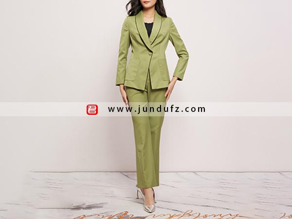 绿色精品羊毛西装两件套套装定制