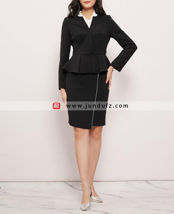 荷叶摆时尚西装三件套套裙定制展示图