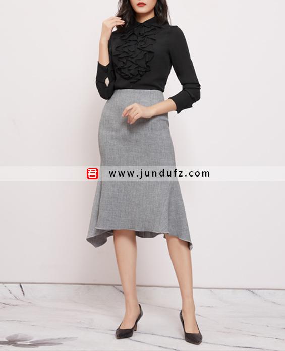荷叶边高端衬衫+过膝鱼尾半身裙套装定制展示图