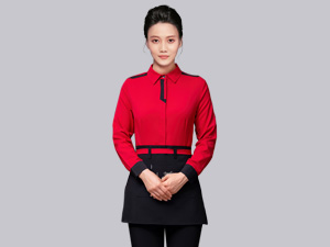 红色秋季长袖服务员工作服定制