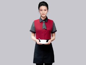 红色拼接夏季短袖服务员工作服定制