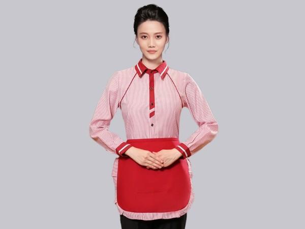 红色条纹秋季长袖服务员工作服定