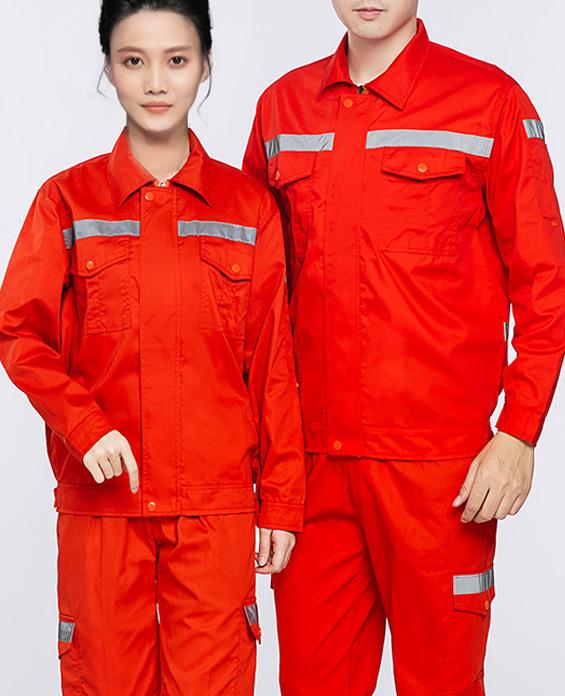 红色环卫工清洁服工作服定制展示图
