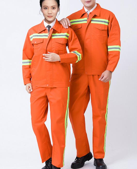 橙色环卫工清洁服工作服定制展示图