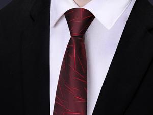 酒红色高档商务领带定制
