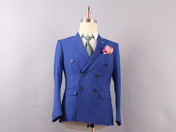 男蓝色条纹双排扣西服定制
