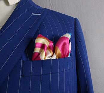 男蓝色条纹双排扣西服定制图片