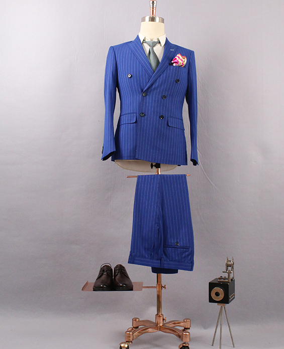 男蓝色条纹双排扣西服定制展示图
