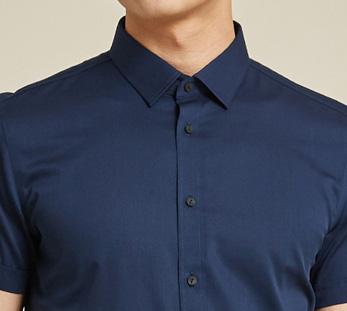 男藏青短袖衬衫定制细节