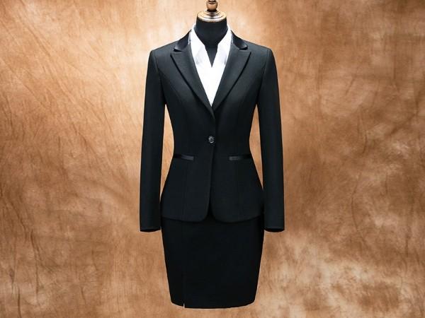女黑色单扣修身西服职业装套装定制