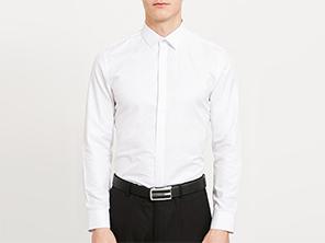 男白色长袖衬衫定制