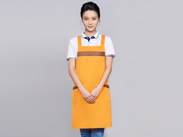 黄色咖啡奶茶店围裙工作服定制