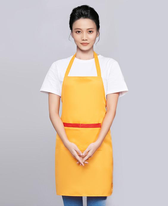 黄色咖啡奶茶店围裙工作服定制展示图