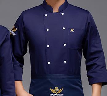 藏青色餐厅厨师工作服定制图片