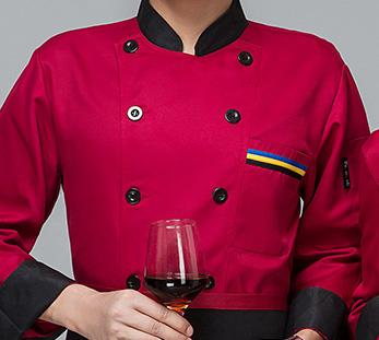 红色餐厅厨师工作服定制图片