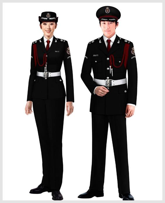 黑色物业管理安保服套装展示图