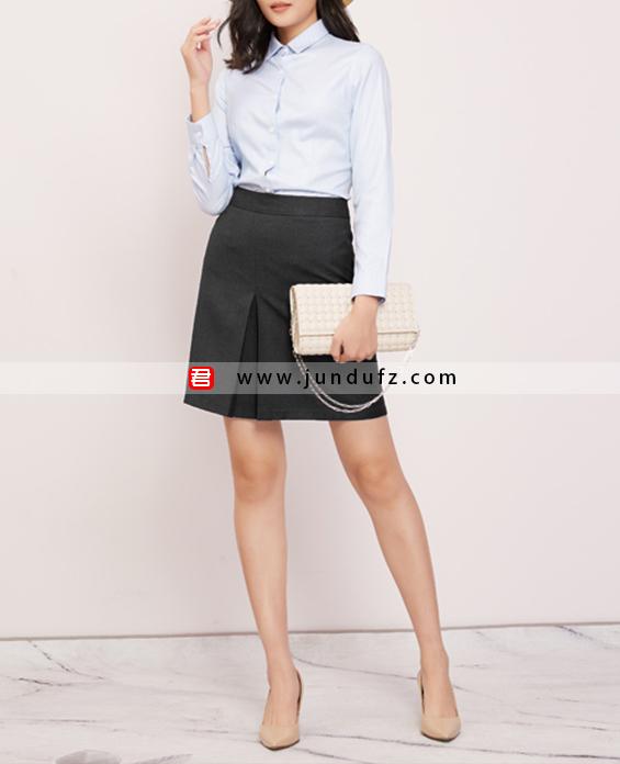 浅蓝色经典衬衫+显瘦小A裙套装定制展示图