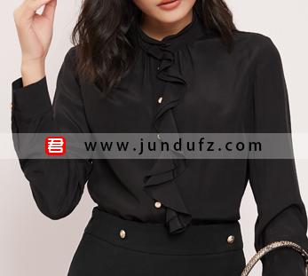 荷叶边高端衬衫+高腰斜开叉半身裙套装定制