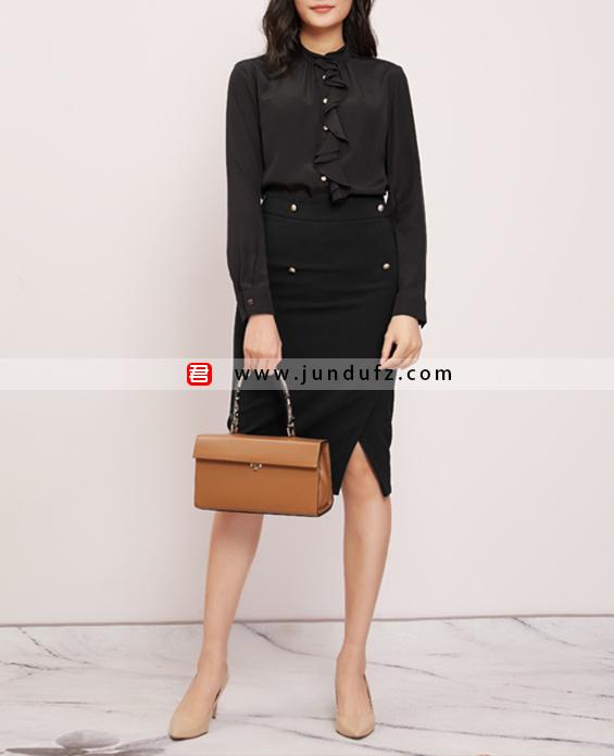 荷叶边高端衬衫+高腰斜开叉半身裙套装定制展示图