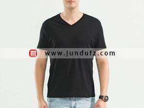 男士黑色V领文化衫T恤定制