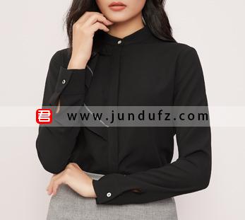 不对称荷叶衬衫+灰色小A裙套装定制