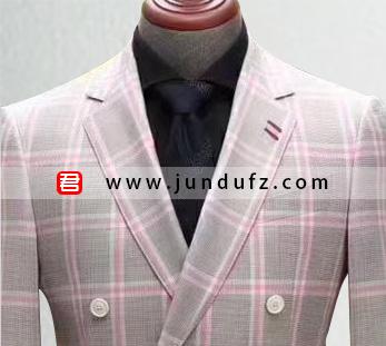 高级男士粉色格子西服定制图片