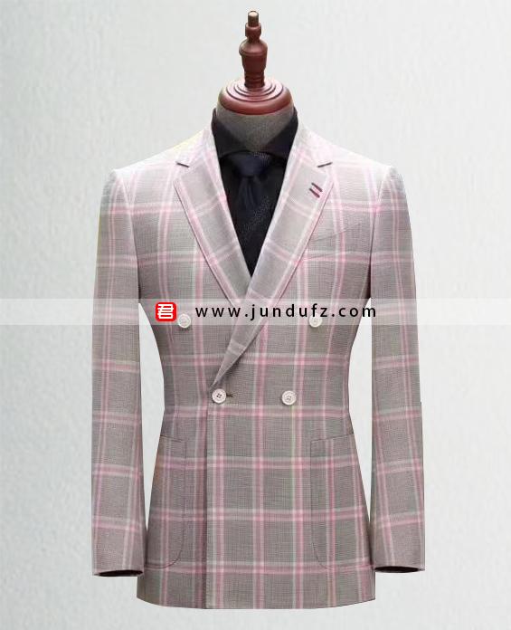 高级男士粉色格子西服定制展示图
