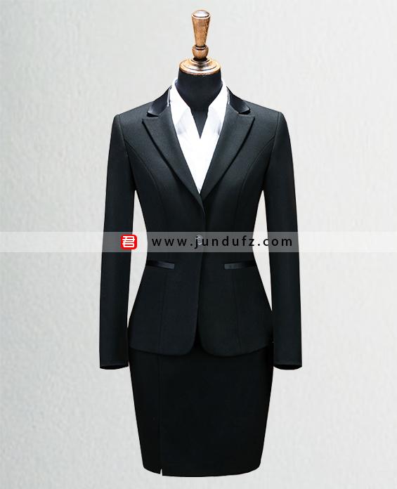 女黑色单扣修身西服职业装套装定制展示图