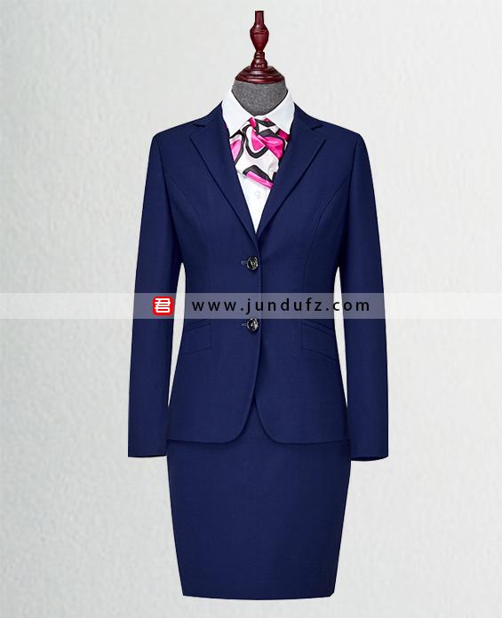 女深蓝色西服职业装套装定制展示图