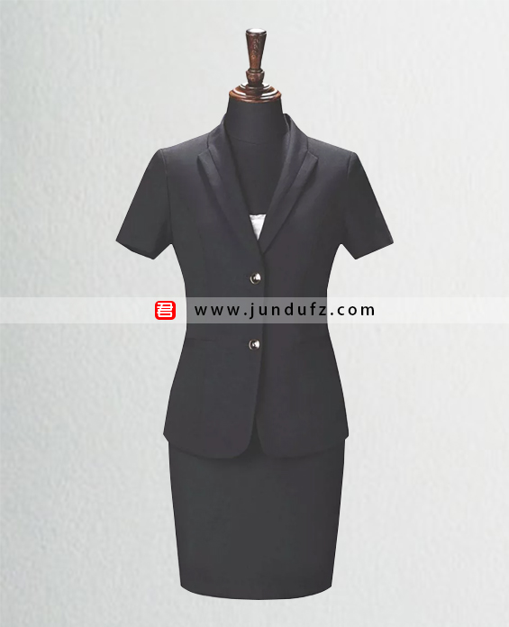 时尚黑色翻领短袖西服套裙定制
