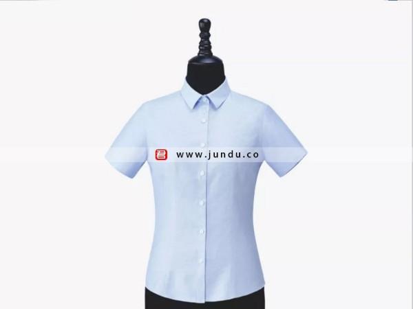 女士蓝色短袖衬衫定制